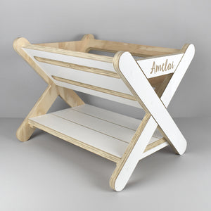 Personalised standing book rack caddy.