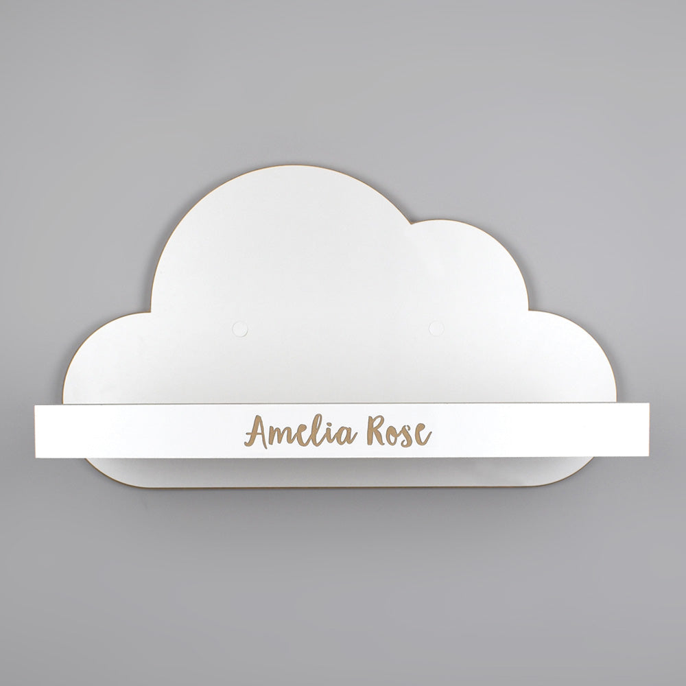 Wall mounted floating cloud shelf with personalisation.