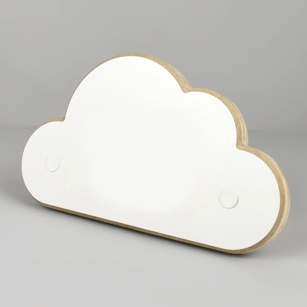 Personalised cloud shaped door plaque.