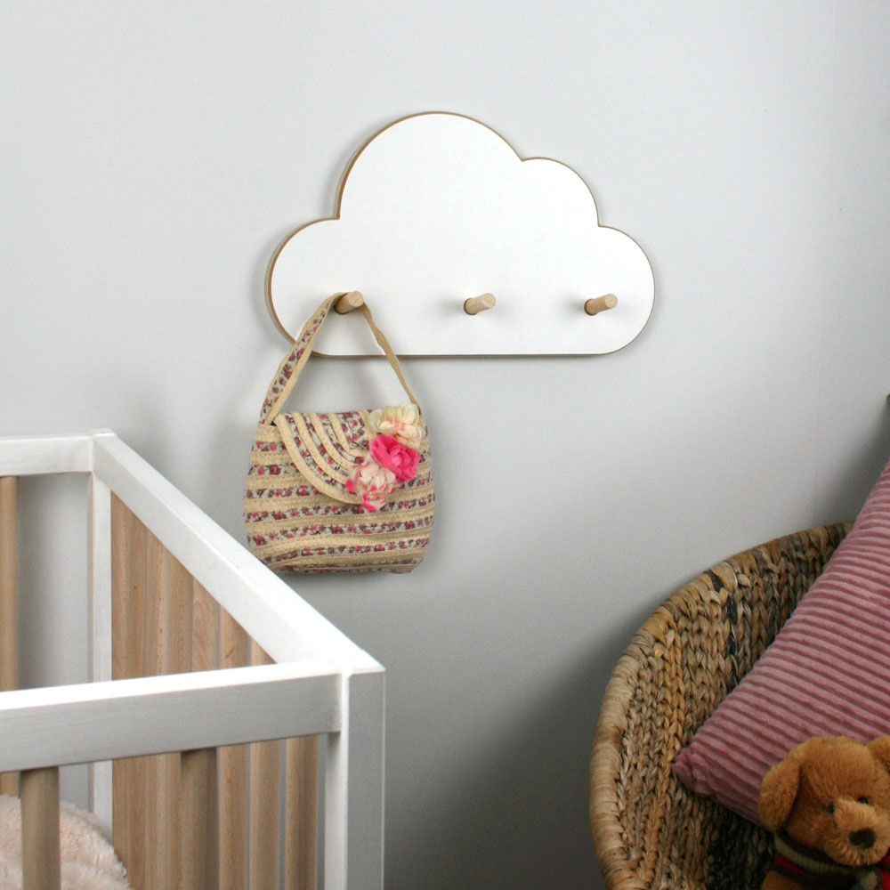 Cloud shaped peg coat hanger.