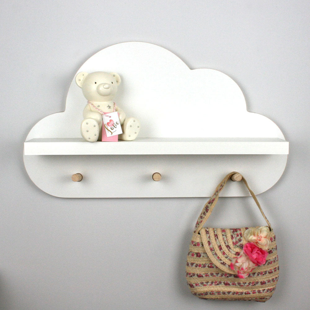 Floating cloud shelf with hangers.