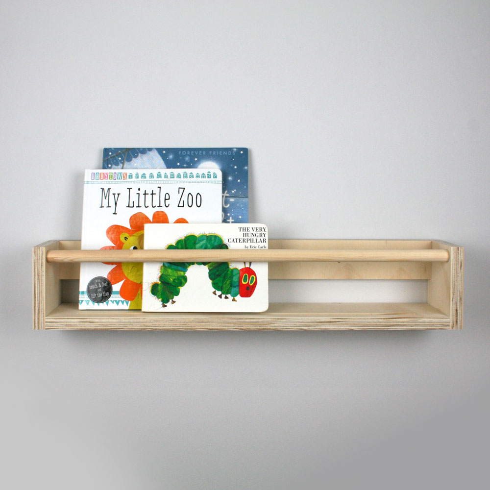 Wall mounted wooden book rack.