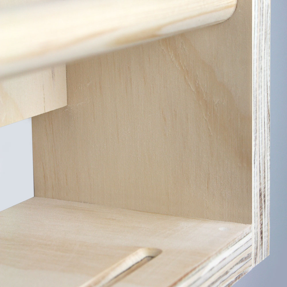 Book storage rack inner detail.