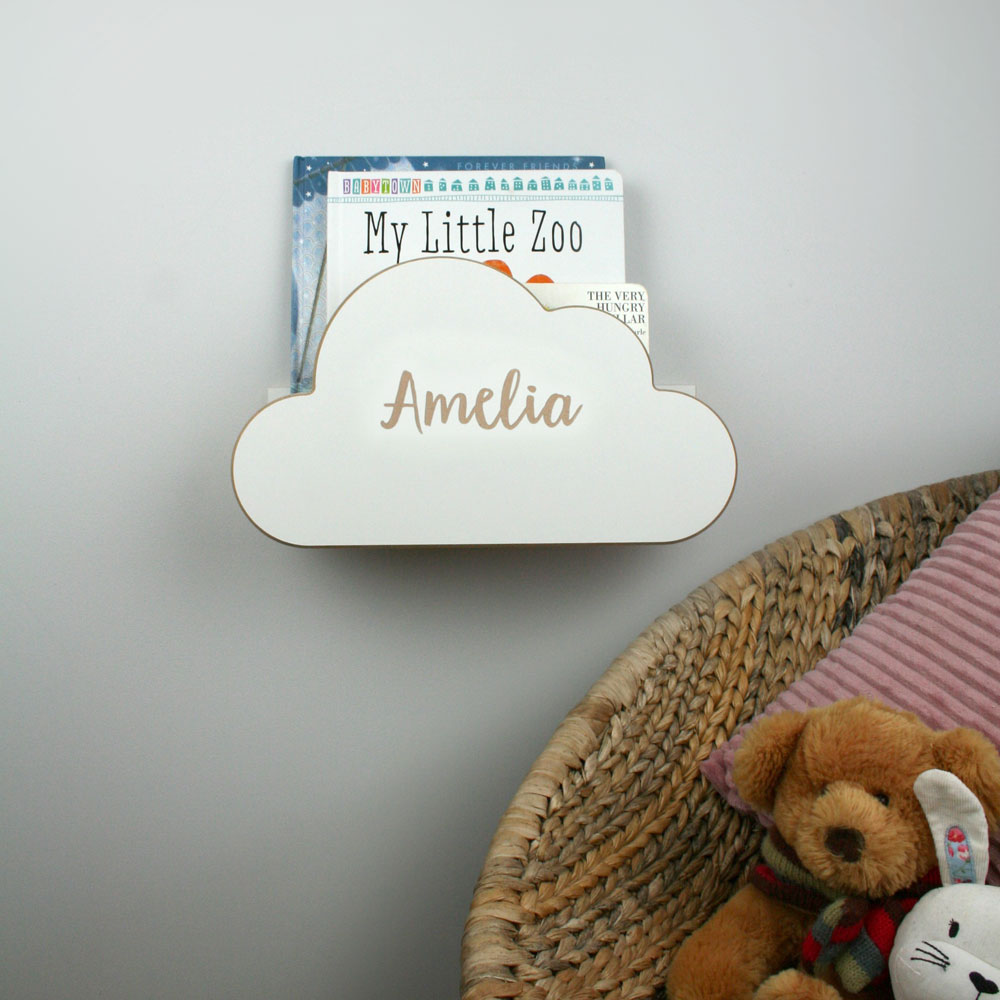 wall mounted cloud book rack with personalisation.