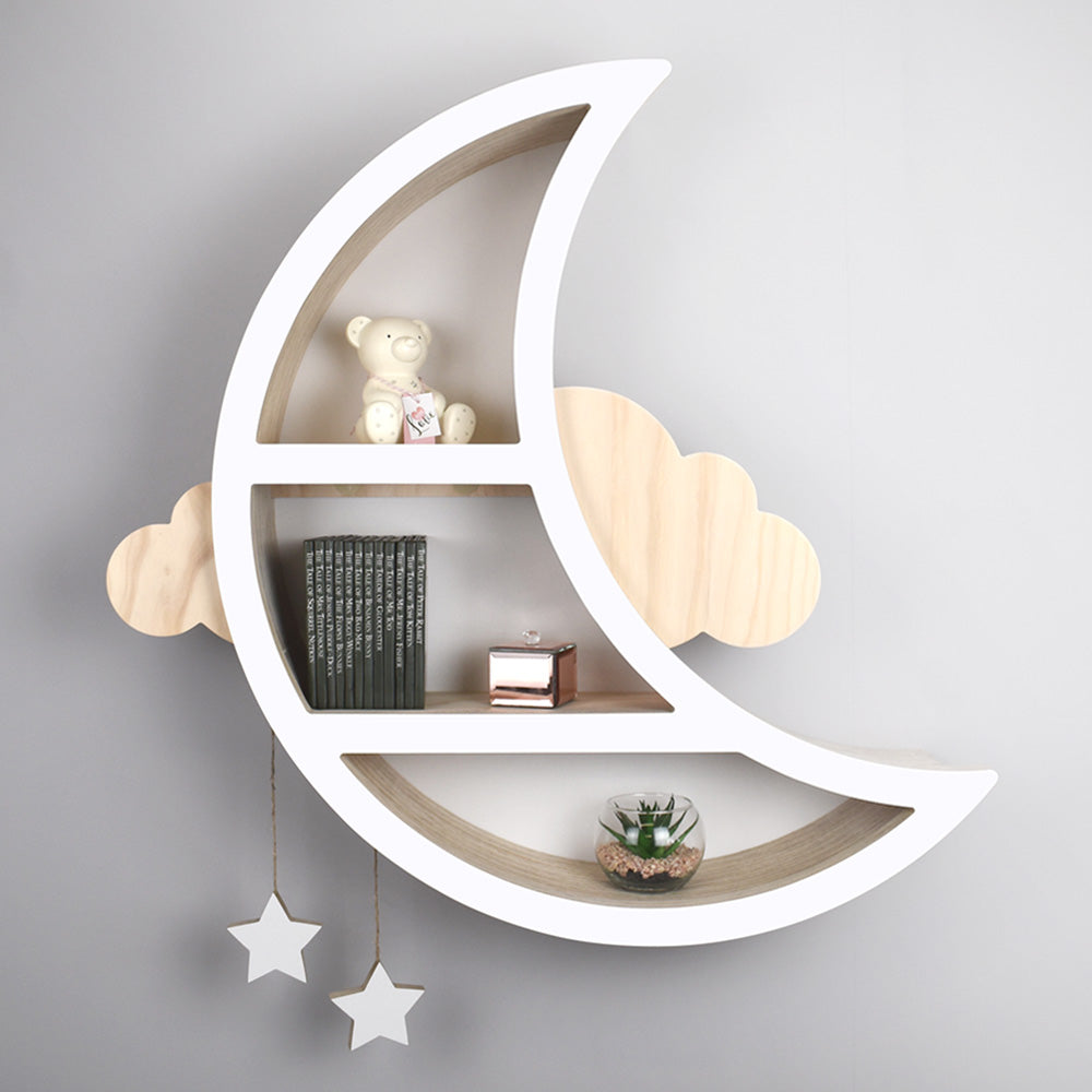 Children's moon shaped shelf in white and light wood.