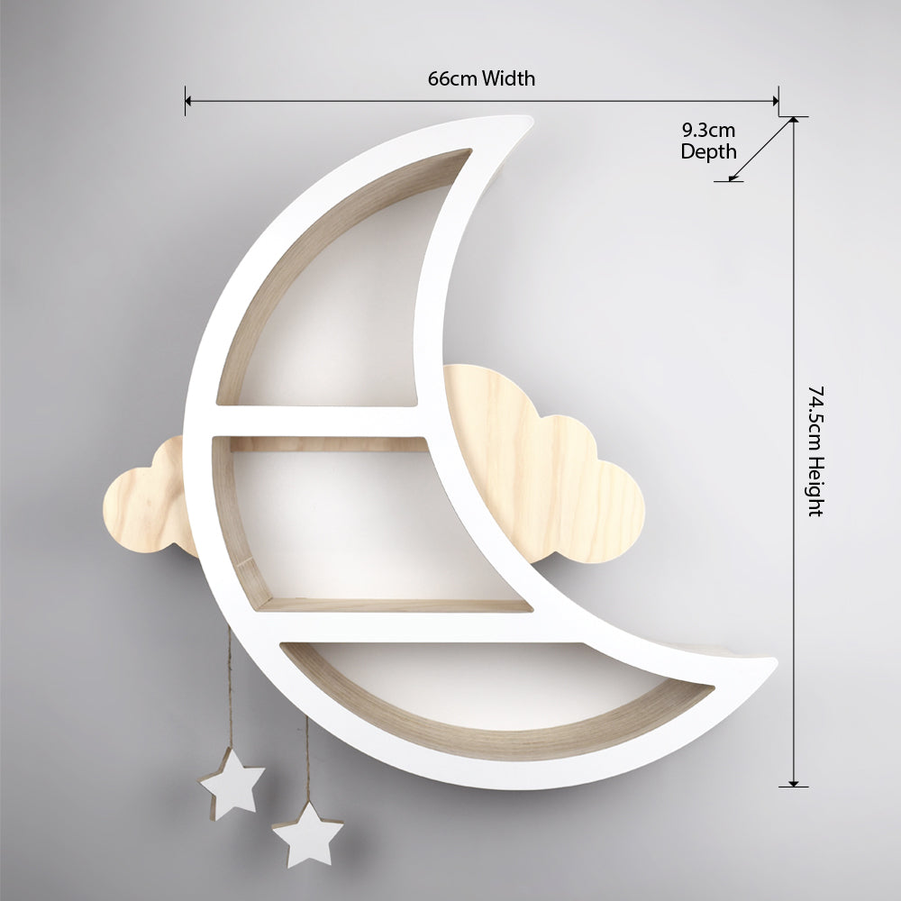 Children's moon shaped shelves with measurements.