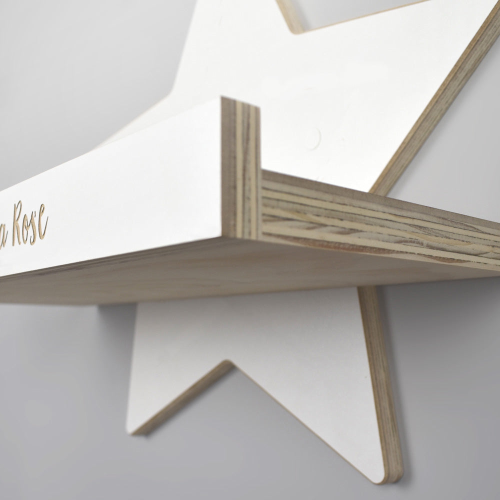 Star shelf with wood core detail.