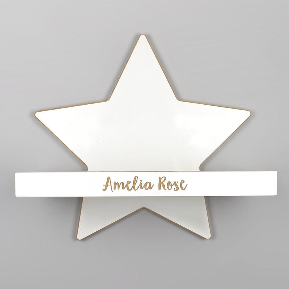 Star shelf with personalisation detail.