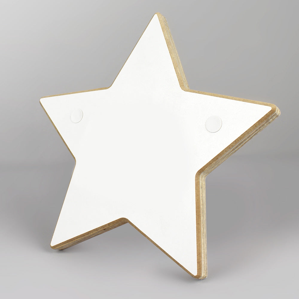 Personalised star shaped door plaque.
