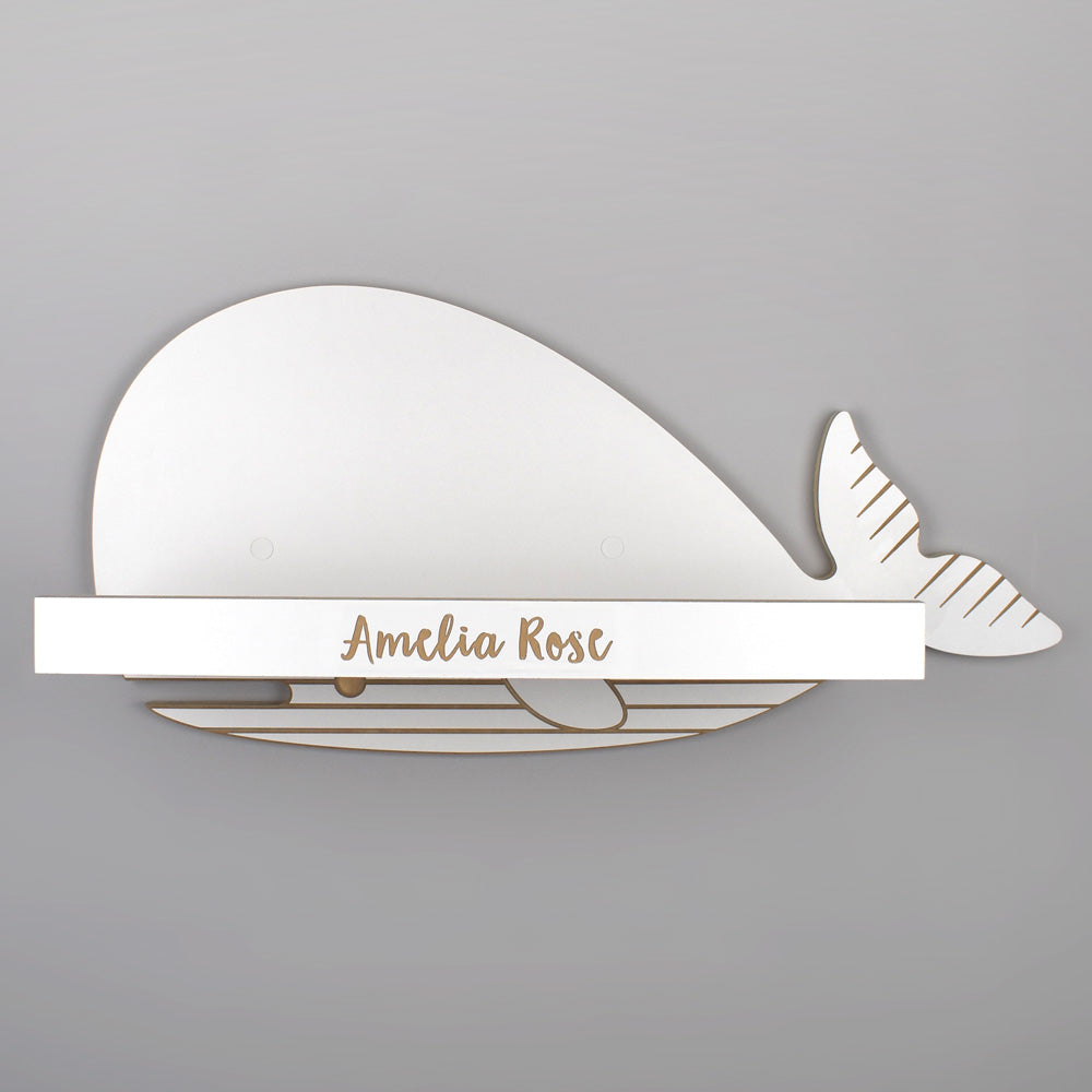 Whale shelf with personalisation detail.