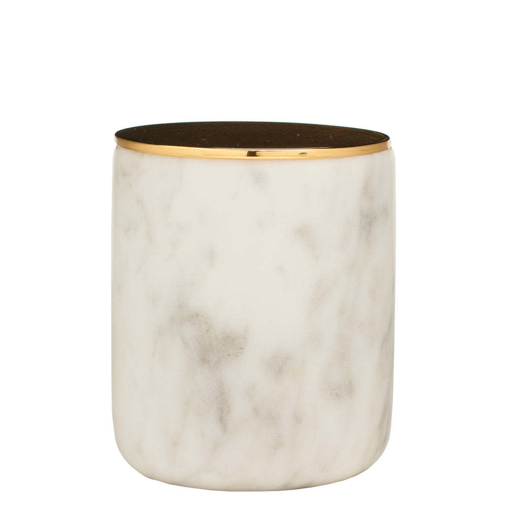 The Luxuriate Amazon Summer Apple White Marble Candle With Gold Lid