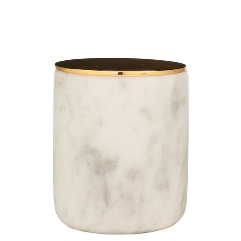 The Luxuriate: Salted Caramel White Marble Candle With Gold Lid - Luxe Gifts™  - 1