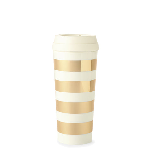 Kate Spade New York: Travel Mug Gold Stripe - Luxe Gifts™