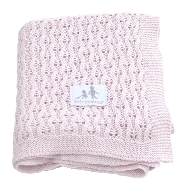Little Bonbon: Lattice Mushroom Pink Baby Shawl - Luxe Gifts™  - 1