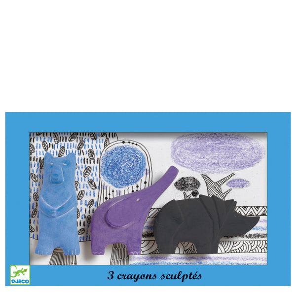 Djeco: Bear, Elephant and Rhino Crayons - Luxe Gifts™  - 1
