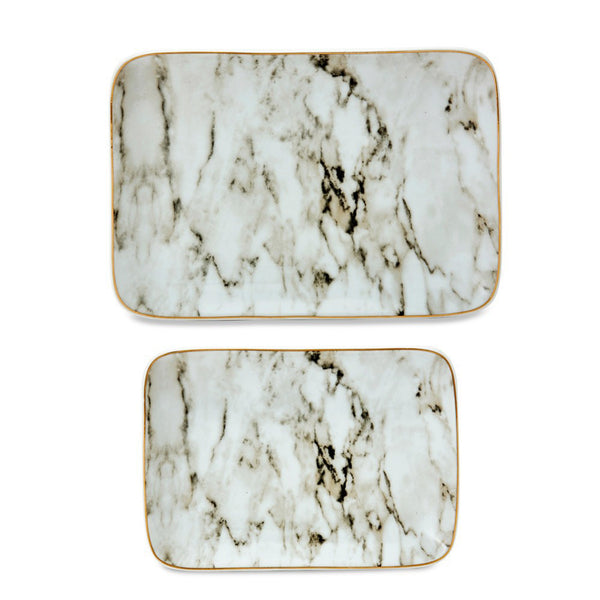 White and Grey Marble Plates - Luxe Gifts™