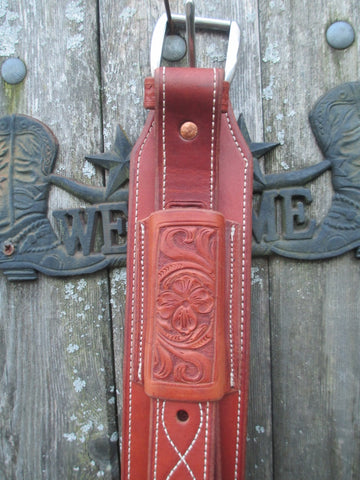New Bob's Medium Oil Floral Tooled Back Girth With Billets