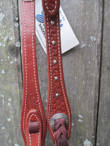 New Bob's JW Basket Stamped Medium Oil One Ear Headstall With Spots