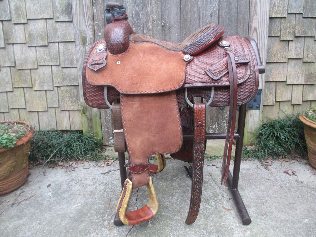Tod Slone Calf Roping Saddle Built By Shawn Wilke Cuero Texas - Fine