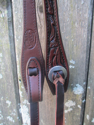 New Bob's JW Antique Oiled Floral Tooled One Ear Headstall