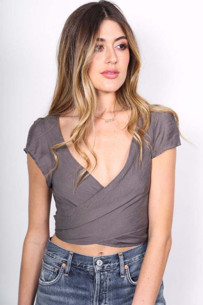 Taupe Wrap Top