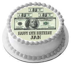 100 dollar bills B Edible Birthday Cake Topper OR Cupcake Topper, Decor