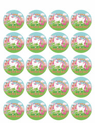 Happy Unikorn - Edible Cake Topper, Cupcake Toppers, Strips