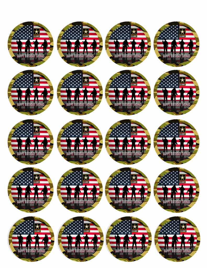 """United States Army Cupcake Toppers Edible Image 2/"""" Frosting Circles"""