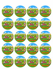 Cute animals train - Edible Cake Topper, Cupcake Toppers, Strips