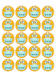 Emoji with Mask - Edible Cake Topper, Cupcake Toppers, Strips