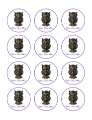 Owl drawn - Edible Cake Topper, Cupcake Toppers, Strips