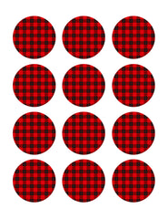 Buffalo Plaid - Edible Cake Topper, Cupcake Toppers, Strips