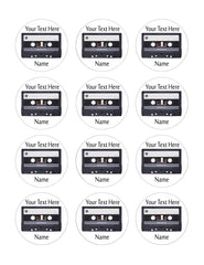 Audio Cassette - Edible Cake Topper, Cupcake Toppers, Strips