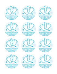 Blue Baby Feet Foot - Edible Cake Topper OR Cupcake Topper, Decor