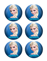 Frozen Elsa Face - Edible Cake Topper OR Cupcake Topper, Decor