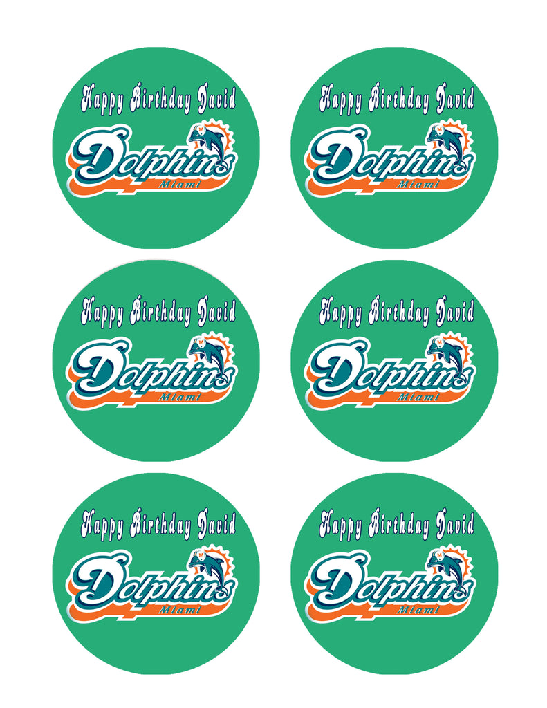 Astounding Miami Dolphins Edible Cake Topper Or Cupcake Topper Decor Personalised Birthday Cards Paralily Jamesorg