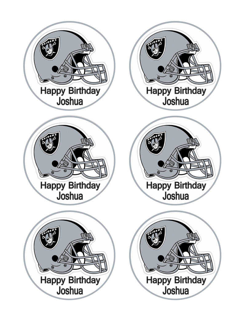 Tremendous Oakland Raiders Edible Cake Topper Or Cupcake Toppers Edible Funny Birthday Cards Online Inifofree Goldxyz