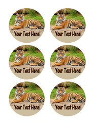 Tiger portrait - Edible Cake Topper, Cupcake Toppers, Strips
