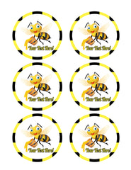 Bee Holding Honey Bucket - Edible Cake Topper, Cupcake Toppers, Strips