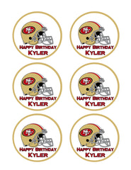 San Francisco 49ers - Edible Cake Topper OR Cupcake Topper, Decor