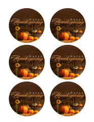 Thanksgiving - Edible Cake Topper OR Cupcake Topper, Decor