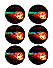 Flaming Soccer Ball - Edible Cake Topper OR Cupcake Topper, Decor