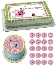 Sweet Lady Bug Edible Birthday Cake Topper OR Cupcake Topper, Decor - Edible Prints On Cake (Edible Cake &Cupcake Topper)