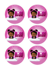 African American Boss Baby Girl - Edible Cake Topper, Cupcake Toppers, Strips