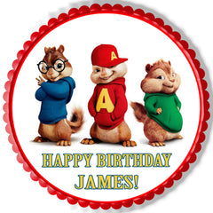 ALVIN AND THE CHIPMUNKS ROAD CHIP (Nr2) - Edible Cake Topper, Cupcake Toppers, Strips