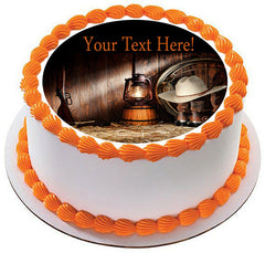 American West Rodeo Old Ranching Tools in a Barn - Edible Cake Topper, Cupcake Toppers, Strips