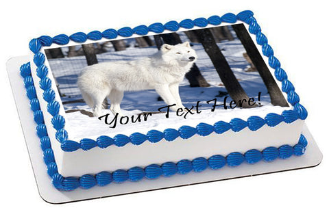 Artic wolf - Edible Cake Topper, Cupcake Toppers, Strips