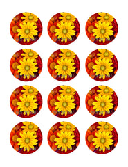 Autumn flowers - Edible Cake Topper, Cupcake Toppers, Strips