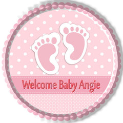 Baby Feet Foot Pink Edible Birthday Cake Topper OR Cupcake Topper, Decor