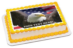 Bald eagle with American flag - Edible Cake Topper, Cupcake Toppers, Strips